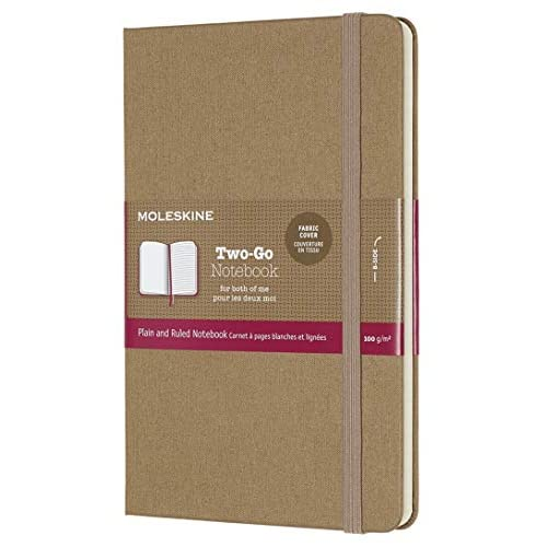 Moleskine Classic Notebook, Taccuino con Pagine Bianche e a Righe, Copertina Rigida in Cotone Canvas e Chiusura ad Elastico, Formato Medium 11,5 x 18 cm, Colore Marrone Avana, 144 Pagine