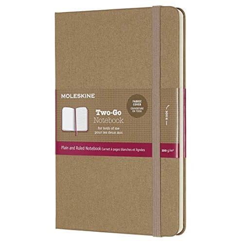 Moleskine Notebook Classic Pagina Bianca e a Righe, Taccuino Rigida Morbida in Cotone Canvas e Chiusura ad Elastico, Colore Marrone Avana, Dimensione Media 11, 5 x 18 cm, 144 Pagine