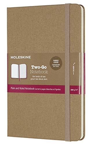 Moleskine Two-Go Textile Notebook, Hard Cover, Medium (4.5' x 7') Kraft Brown, 144 Pages