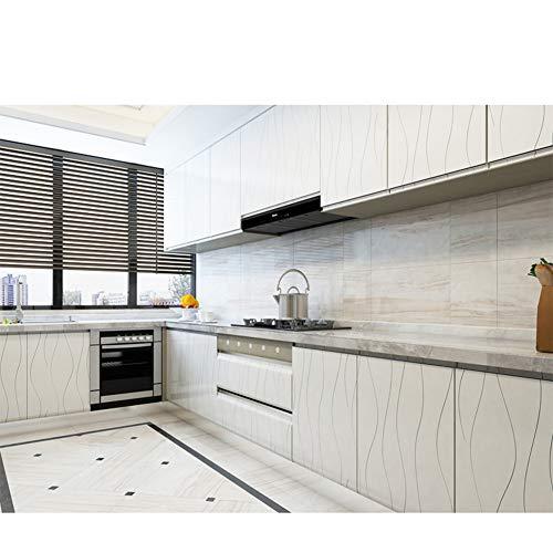 Lámina adhesiva para muebles, de color blanco, de PVC, resistente al agua, sin ftalatos, 5 m x 60 cm
