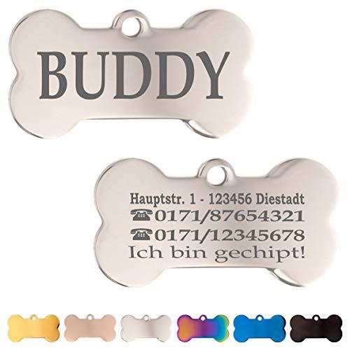 Iberiagifts - Hundemarke Knochen aus Edelstahl in verschiedenen Farben mit Gravur für mittelgroße bis große Hunde und Katzen - Plakette graviert und personalisiert (Silber)