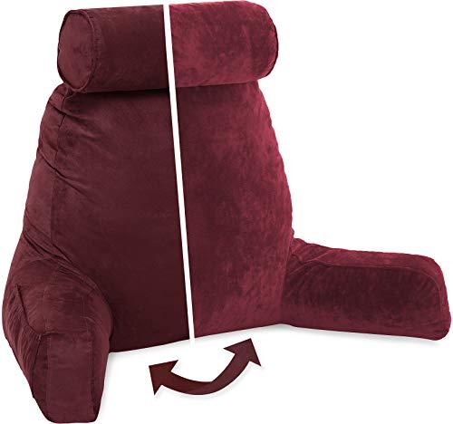 Husband Pillow, Edición Áspen – Cimarrón de Arizona Camilla de Apoyo Grande con Respaldo Reversible Microsuede/Microfiber Almohada de Lectura