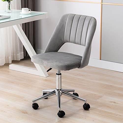 Wahson Velvet Office Chair Swivel Desk Chair Height Adjustable Armless Task Chair for Home Office (Grey)