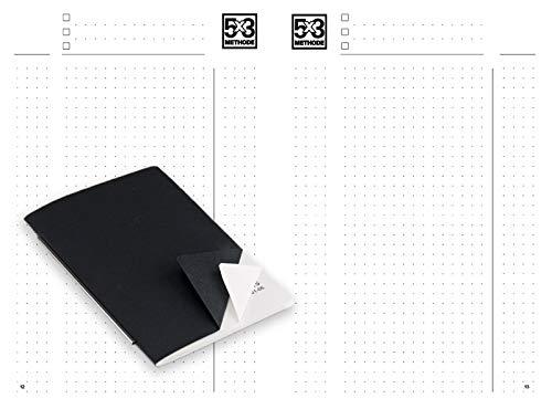 X47- A6 Notizen Hochkant 5X3 Methode- passend für den X47-Organizer/Tageskalender/Terminkalender, mit Röhrchen am Rücken, Umschlag Schwarz/Weiß