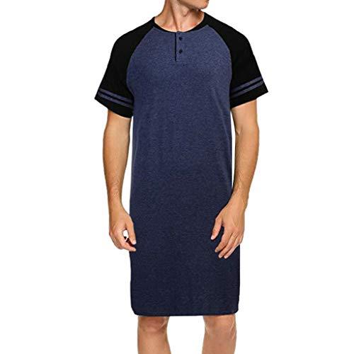 Celucke T Shirts Männer Extra Lang Oversize Shaped Long Tee Rundhalsausschnitt, Herren T-Shirt Mit Grandad-Ausschnitt (Blau,XL)