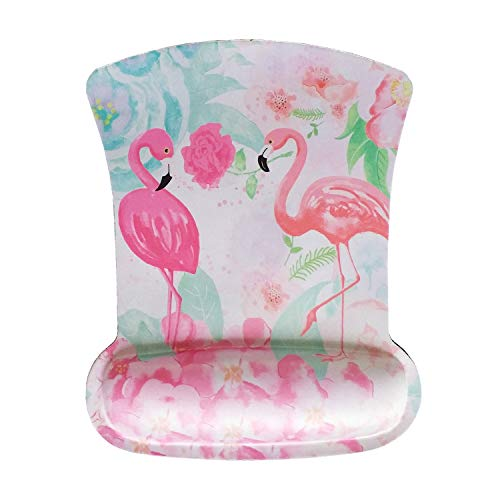 Ergonomic Memory Foam Mouse Pad with Wrist Rest Support, Non-Slip Rubber Base Wrist Rest Pad for Laptop, Computer, Gaming,Home, Office Easy Typing & Pain Relief (Cute Two Flamingos)