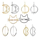 Hair clip for Women, 10 Pcs Simple style Hair clip moon round star lips cat oval hair clip suitable for girl's thick hair style hair ornament gold and silver