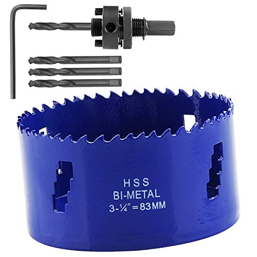 LANIAKEA 3-1/4-Inch Bi-Metal Hole Saw 83MM M42 Annular Hole Cutter HSS Variable Tooth Pitch Holesaw Set with Arbor Blue for Home DIYer