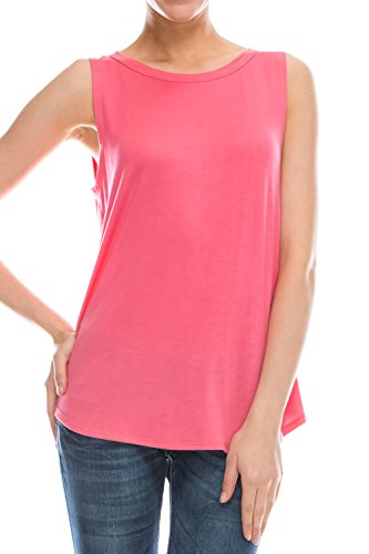 Flowy Loose Fit Rayon Strickpullunder Weste Tops Damen: Regular und Plus Size Workout Kühle Relaxed Coral S
