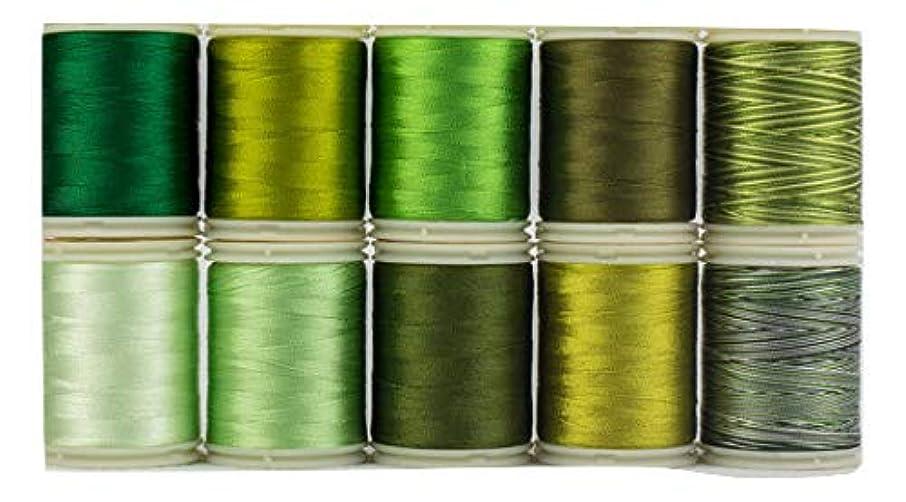 WonderFil, Specialty Threads, Splendor, 2-Ply Rayon Versatile Thread, 40wt, Green - Set of 10