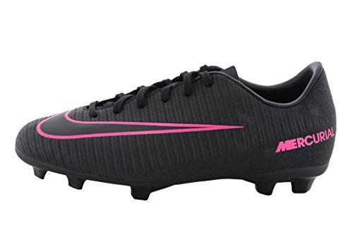 Nike JR MERCURIAL VAPOR XI FG, Unisex-Kinder Fußballschuhe, Schwarz (Schwarz/Schwarz/Pink), 35 EU (2.5 UK)