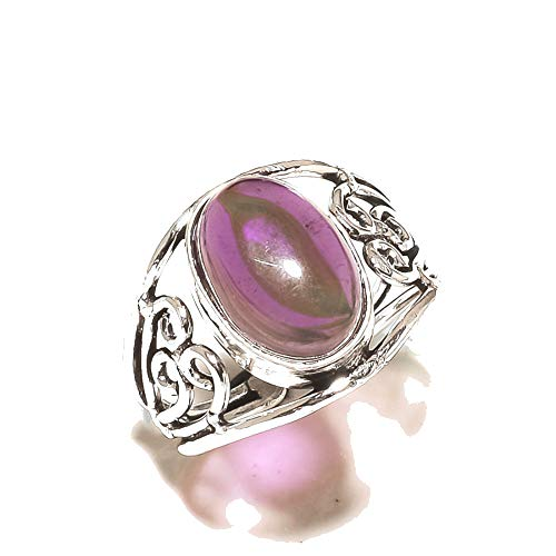 Purple Amethyst Quartz! RING For Spouse, Best Wire Design, Silver Plated! HANDMADE Jewelry Art! All Variety Store! Ring Size 9.5 US(Sizeable)