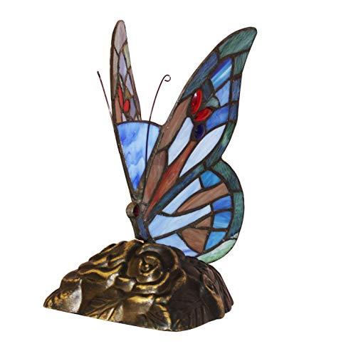 Home Supplies - Lampada decorativa da tavolo stile Tiffany a forma di farfalla, colore: Blu