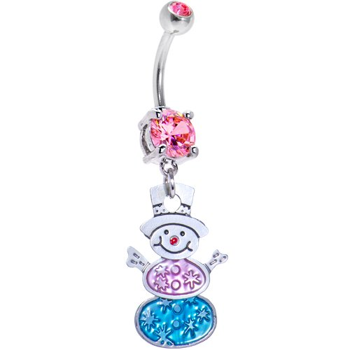 Body Candy Festive Snowman Dangle Belly Ring