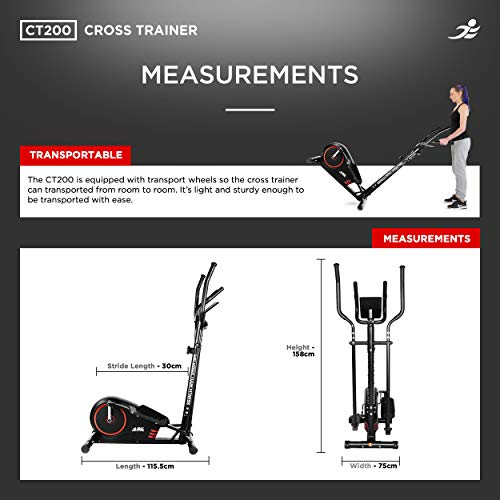 JLL® CT200 Home Cross Trainer, 2021 Model, 8 Level Magnetic Resistance, Cardio Workout, 5KG Two Way Flywheel, Console Display with Heart Rate Sensor and Tablet Holder. Black & Red