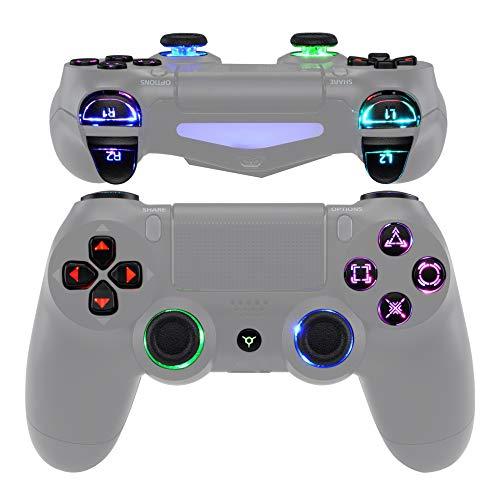 eXtremeRate Tasten Knöpfe für P S 4 Controller Buttons D-Pad L1 R1 R2 L2 Trigger Thumbsticks DTFS LED Kit CUH-ZCT2 für P S 4 Controller-Symbols Leuchttaste 10 Farben Modi 7 Bereiche(DTF 2.0)