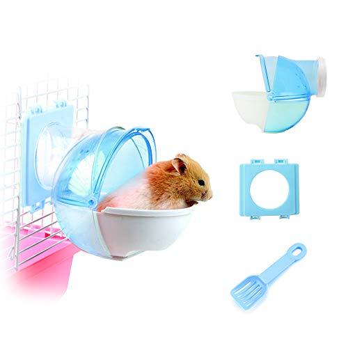 WishLotus Hamster Arena de baño, 3 piezas desmontables de plástico para hámster arena de baño para mascotas pequeñas con pala y accesorio para jaulas para hámster cobayas (azul)