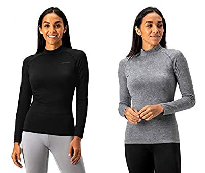 DEVOPS Women's 2 Pack Thermal Turtle Long Sleeve Shirts Compression Baselayer Tops (Medium, Black/Heather Charcoal)