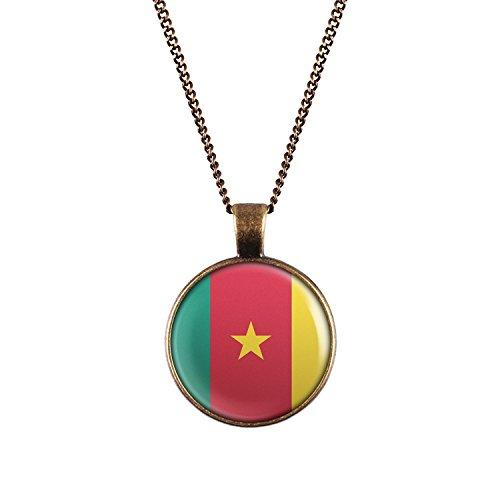 WeAreAwesome Kamerun Flagge Halskette - Länderkette mit Fahne Anhänger Unisex Kette Afrika
