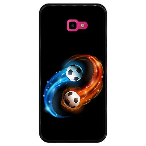 Hapdey Funda Negra para [ Samsung Galaxy J4 Plus 2018 ] diseño [ Abstracto, Fuego y Agua, balón de Futbol ] Carcasa Silicona Flexible TPU