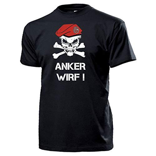 Pioniere BW Barett Schädel_Bundeswehr Pionier Anker Wirf Pio - T Shirt #14325, Farbe:Schwarz, Größe:XL