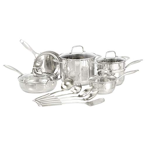 AmazonBasics Stainless Steel 15-Piece Cookware Set - Pots, Pans and Utensils