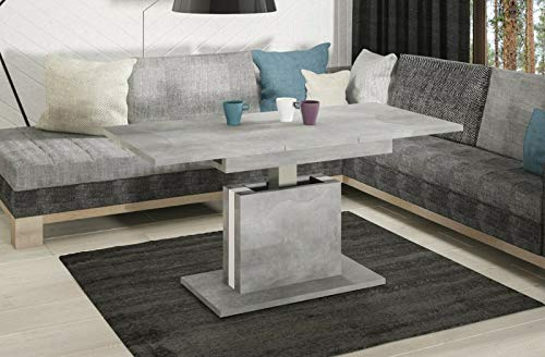 Endo-Moebel Couchtisch Lira höhenverstellbar erweiterbar ausziehbar 110cm - 140cm Tisch (Beton)