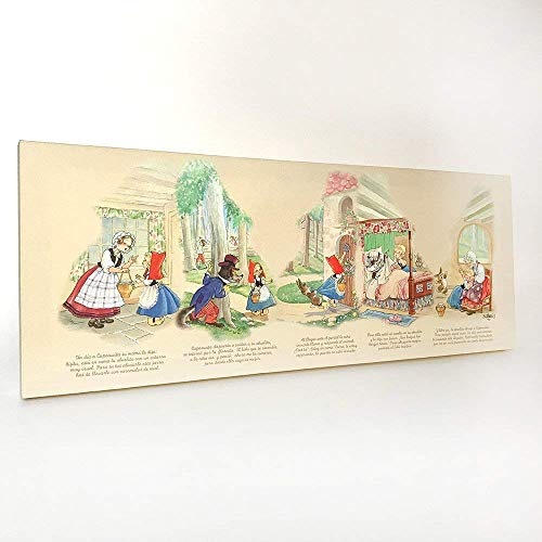 Cuadro cuento Caperucita Roja 80x30cm. Ilustración de Juan Ferrándiz impresa en lienzo. Serie limitada y numerada