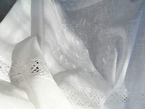 LillaBelle Vorhang Crystal Weiss Gardine 120x240 cm 2 STÜCK Bestickt Spitze Baumwolle