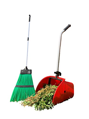 Long Handled Outdoor Dustpan and Brush Set, Large Garden Leaf / Waste Scoop Dust Pan with Stiff Yard...