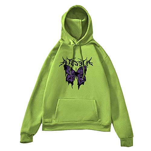 XUJY Women's Hoodie Butterfly Print Y2K Women's Knitted Sweater and Pullover Butterfly Harajuku Hip Hop 90S Retro Frauen Hoodie Butterfly 90S Pullover Y2K Hoodie