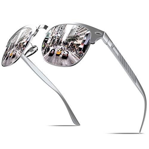 KITHDIA Polarisiert Sonnenbrille Herren Damen Aluminium Magnesium Metallrahmen S046 (Weiß)