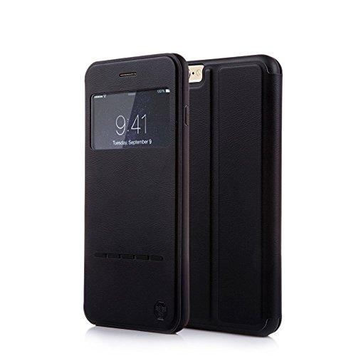 Nouske - iPhone-6/6S-Smart-Touch-Schutzhülle, S-View-Fenster, Klapphülle/Magnetverschluss/Standfunktion/TPU / 360-Grad-Stoßschutz, Schwarz