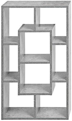 ts-ideen Wandregal Standregal Aufbewahrung Holz moderne Betonoptik Grau Buch CD-Regal Ablage 48 x 85 cm