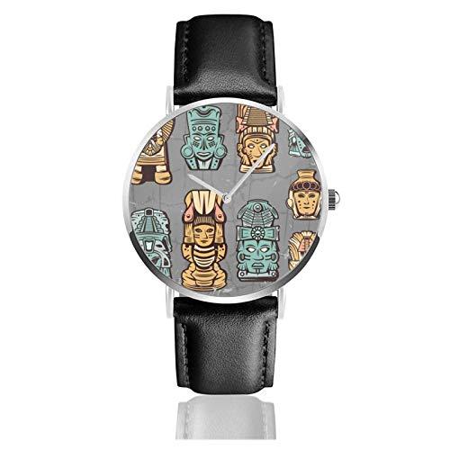 Reloj clásico, diseño de máscaras aztecas de colores vintage, correa de piel negra, relojes casuales