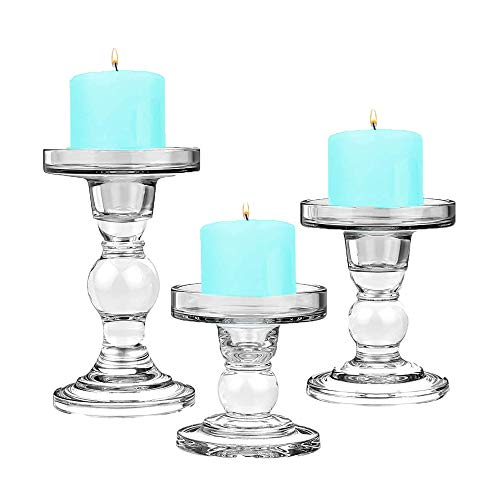 "CYS EXCEL Candle Holder Set for Pillar and Taper Candles Bubble Set of 3 PCS - (H-3.5"", 4.5"", 5.5"")"