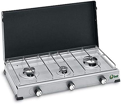 BST Hornillo de gas GLP de acero barnizado (3 fuegos, 55 x 28 ...