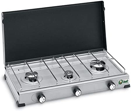 BST Hornillo de gas GLP de acero barnizado (3 fuegos, 55 x ...