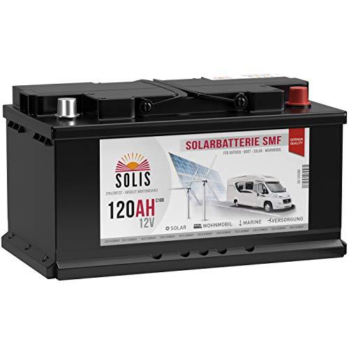SOLIS Solarbatterie 12V 120Ah SMF Batterie verschlossen Solar Wohnmobil Wohnwagen Versorgungsbatterie Bootsbatterie vorgeladen auslaufsicher wartungsfrei