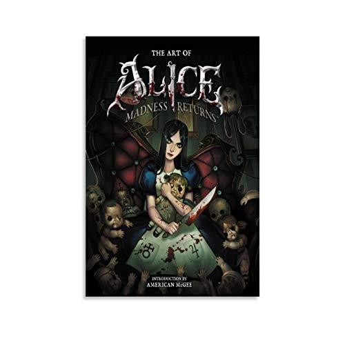"""Poster su tela con motivo """"Alice Returns to Madness"""", stampa artistica su tela e stampa artistica da parete, 30 x 45 cm"""