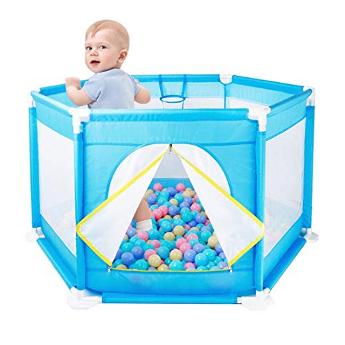 playpens for toddlers,Baby Playyard Tents Infant Playpens Safety Household Protective Fence Hexagon House Play Yard Travel/Indoor - Blue