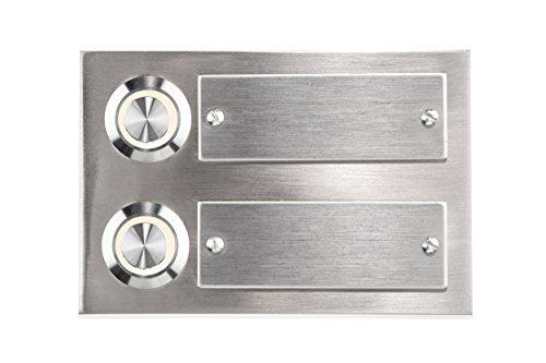 HUBER LED Klingeltaster 12276, 2-fach aufputz/unterputz, rechteckig, Echtmetall, LED Lichtfarbe warm weiß