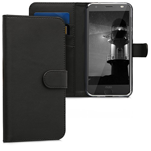 kwmobile Hülle kompatibel mit Motorola Moto Z2 Force - Kunstleder Wallet Hülle mit Kartenfächern Stand in Schwarz