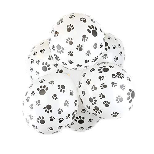 Hunde Geburtstag Deko Latexballon Paw Prints Latex Ballons Hund Pfoten Luftballons für Pet Geburtstagsparty Hundegeburtstage Dekoration(Weiß)