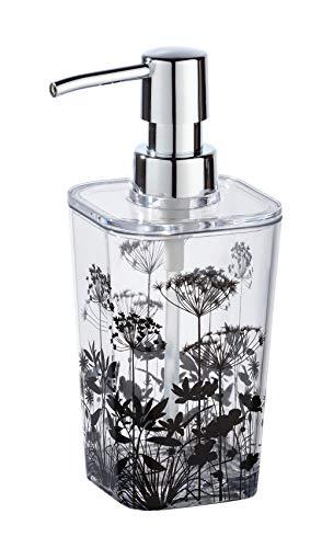 WENKO Seifenspender Botanic - Flüssigseifen-Spender, Spülmittel-Spender Fassungsvermögen: 0, 33 l, 8, 8 x 17, 4 x 7, 3 cm, transparent