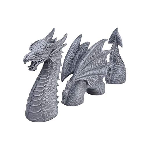Großer 3 Teiliger Drache, Drache Figur Gartenfigur, Maße: 40 X 28 X 6,5 Cm, Polyresin, ZweiiFarbig Schwarz Und Grau