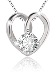 Swarovski Elements 925 Sterling Silver Pendent Necklace for Women Gift JRosee Jewelry (Heart)