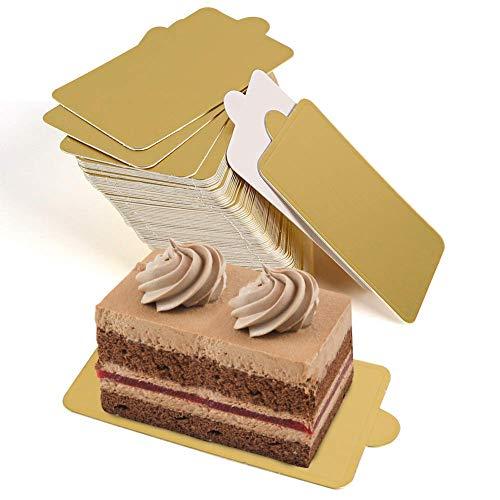 Base Cuadrada para Tartas de CartóN Dorado, Recipiente Individual para Tartas, Bandeja para Tartas de 100 Piezas, Base para Plato de Postre, Soporte para Tartas
