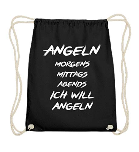 EBENBLATT Angeln, Morgens, Mittags, Abends Ich will Angeln/Angler Geschenk/Angelshirt/Angelfan - Baumwoll Gymsac