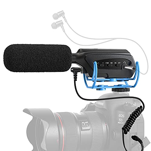 Moukey Camera Microphone, DSLR External Camera Interview Mic with Monitoring Function, Shotgun Mic for Camera Sony/Nikon/Canon/DV Camcorder, Ideal for Interview Blogs, Live Broadcasts